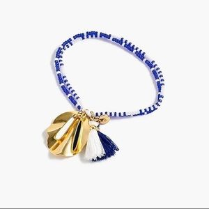 Blue Beaded Shell and Tassel Bracelet